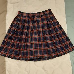 Vintage 80s/90s Blue Red Plaid Mini Skirt Sz S 0-2